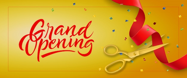 Banner festivo de inauguração com moldura, confete e tesoura de ouro