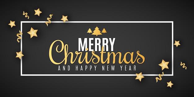 Banner festivo de natal. estrelas douradas com confete e serpentina. letras elegantes no quadro. cartão de felicitações