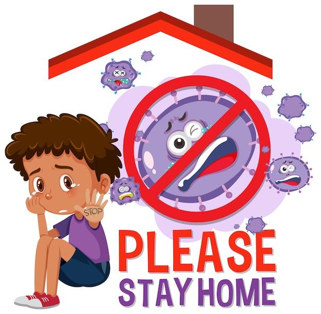 Banner fique em casa com crianças e sem sinal de vírus