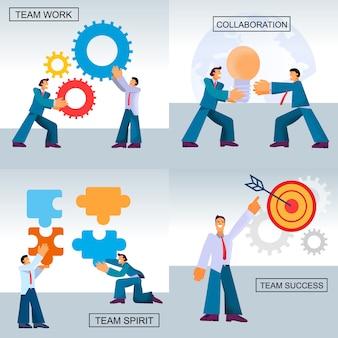 Banner flat set team work sucesso colaboração.