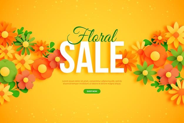 Banner floral colorido de venda
