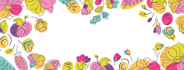 Banner floral com flores silvestres de verão. canteiro de flores com cores neon brilhantes.