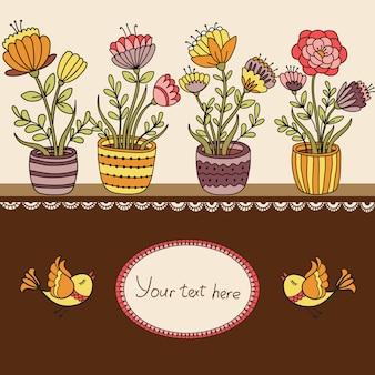 Banner floral de desenhos animados com vaso de flores e pássaros