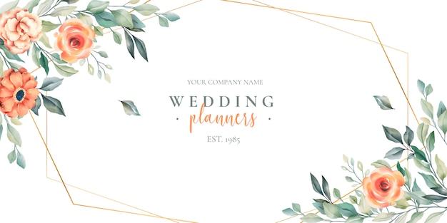 Banner floral de planejador de casamento com logotipo