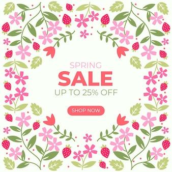 Banner floral de venda de primavera de design plano