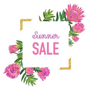 Banner floral de venda de verão com moldura dourada