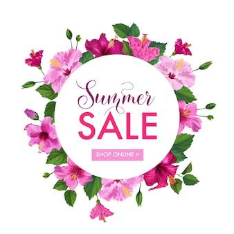 Banner floral de venda de verão