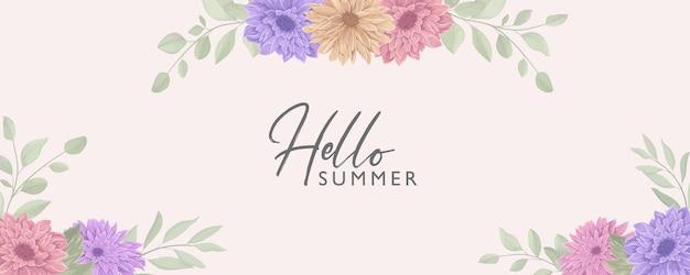 Banner floral elegante com tema de verão