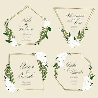 Banner floral para casamento com molduras douradas