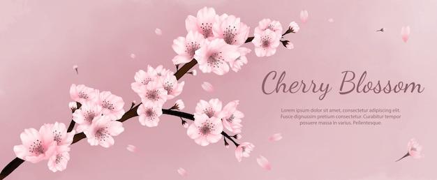 Banner flores aquarela flores de cerejeira, primavera, verão com fundo rosa