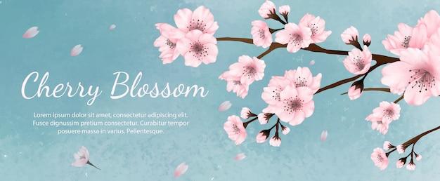 Banner flores aquarela flores de cerejeira, primavera, verão com fundo verde