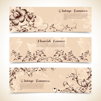 Banner florestal ornamentado do vintage