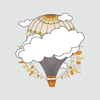 Banner fofo com balões de ar quente, nuvens e lugar para seu texto