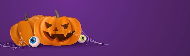 Banner fofo de abóbora de halloween