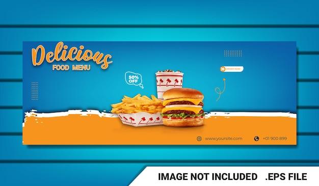 Banner food menu burger facebook cover template com efeito de texto editável