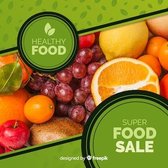 Banner fotográfico de comida plana quadrada