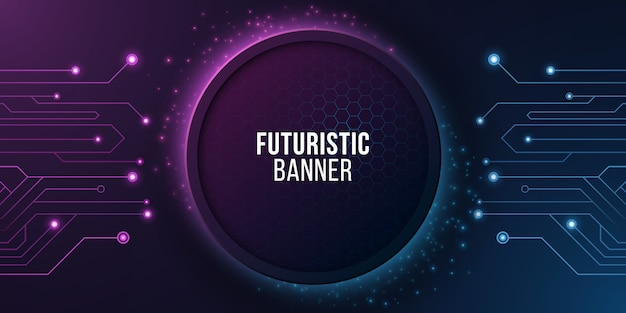 Banner futurista com circuito de computador. projeto de tecnologia moderna.