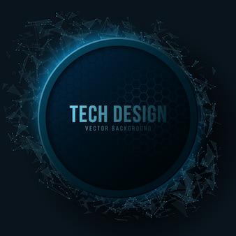 Banner futurista com padrão de néon de favos de mel azul brilhante e partículas de plexo geométrico.