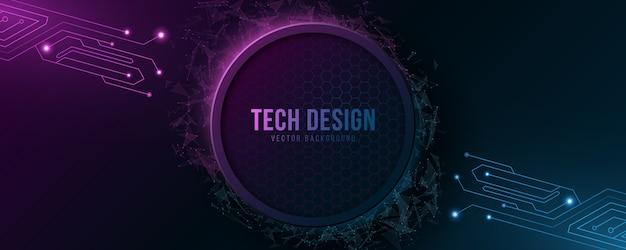 Banner futurista de alta tecnologia com circuito de computador.