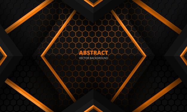 Banner futurista de jogo abstrato em preto e laranja com grade hexagonal de fibra de carbono e triângulos pretos