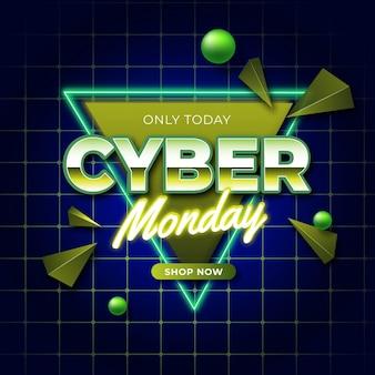 Banner futurista retrô de cyber monday