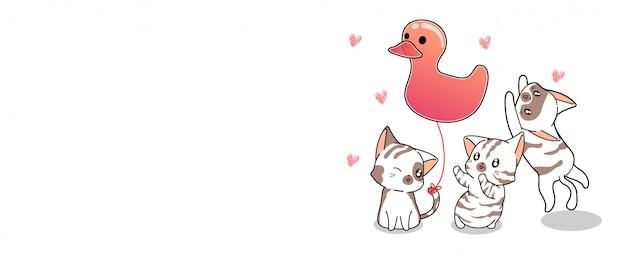 Banner gatos kawaii e banner de balão pato rosa