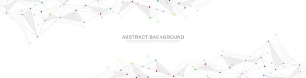 Banner geométrico abstrato com pontos e linhas de conexão. conexão de rede global. tecnologia digital com plexo