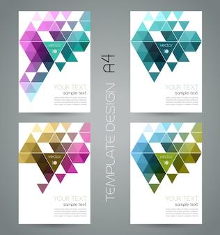 Banner geométrico abstrato de cor com triângulo.