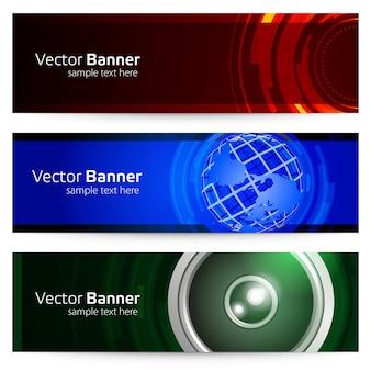 Banner geométrico com escopo e planeta