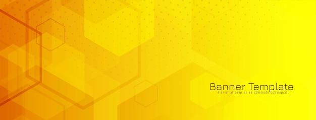 Banner geométrico hexagonal amarelo brilhante