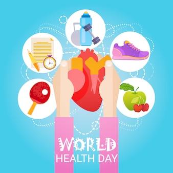 Banner global de férias do dia mundial da saúde do coração com espaço de cópia
