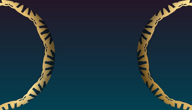 Banner gradiente azul com enfeite de ouro vintage para design sob o seu logotipo