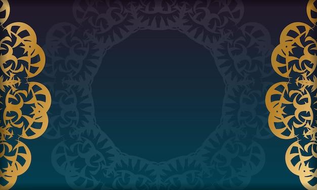 Banner gradiente azul com luxuosa ornamentação de ouro e espaço para logotipo ou texto