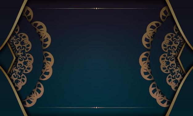 Banner gradiente azul com luxuoso padrão dourado e espaço para seu logotipo ou texto