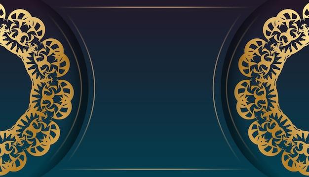 Banner gradiente azul com ornamento abstrato de ouro para design sob o seu logotipo