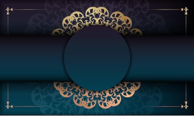 Banner gradiente azul com ornamento de mandala de ouro e lugar para logotipo ou texto