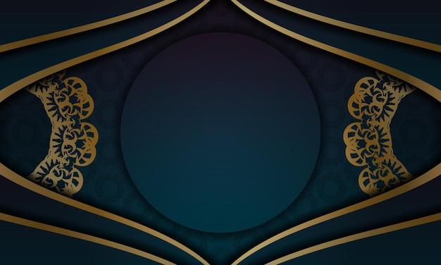 Banner gradiente azul com ornamento de mandala de ouro para design sob logotipo ou texto