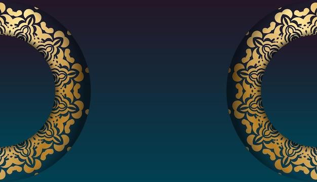 Banner gradiente azul com ornamento de ouro abstrato e espaço para seu logotipo ou texto