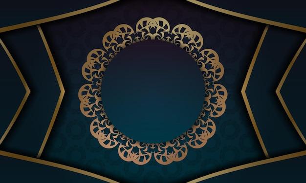 Banner gradiente azul com ornamento de ouro abstrato para design sob logotipo ou texto