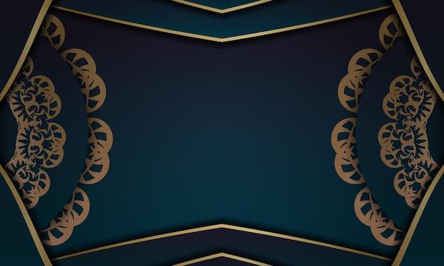 Banner gradiente azul com ornamento de ouro grego para logotipo ou texto