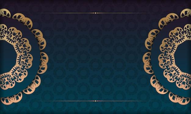 Banner gradiente azul com ornamento de ouro vintage para design sob logotipo ou texto
