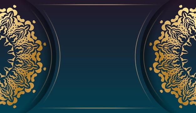 Banner gradiente azul com ornamentos de ouro grego e espaço para seu logotipo ou texto