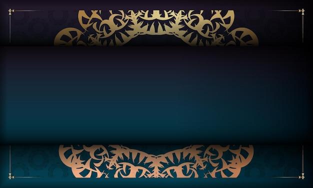 Banner gradiente azul com ornamentos de ouro indiano e local para logotipo ou texto
