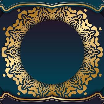 Banner gradiente azul com ornamentos de ouro indiano e local para seu logotipo ou texto