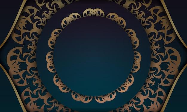 Banner gradiente azul com ornamentos de ouro indiano para logotipo ou design de texto