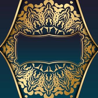 Banner gradiente azul com padrão ouro de luxo para design sob seu logotipo ou texto