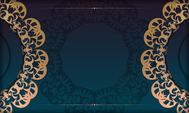Banner gradiente azul com padrão ouro grego para logotipo ou texto