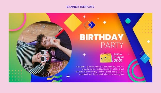 Banner gradiente de venda de aniversário colorido