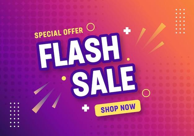 Banner gradiente de venda em flash