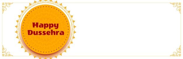 Banner grande festival de dussehra feliz com copyspace
